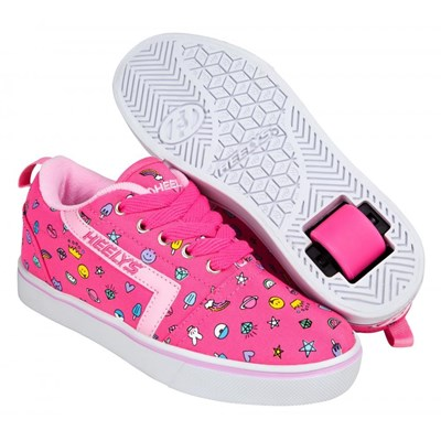 GR8 Pro Prints Hot Pink/Light Pink/Emoji Kids Heely Shoe