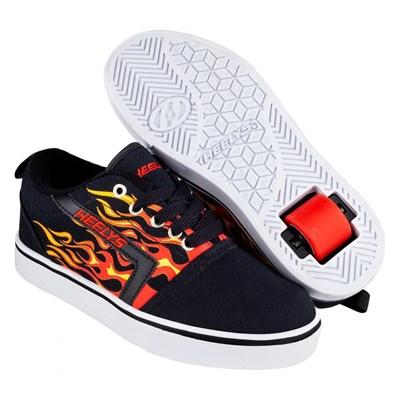 GR8 Pro Prints Black/Red Flames Kids Heely Shoe