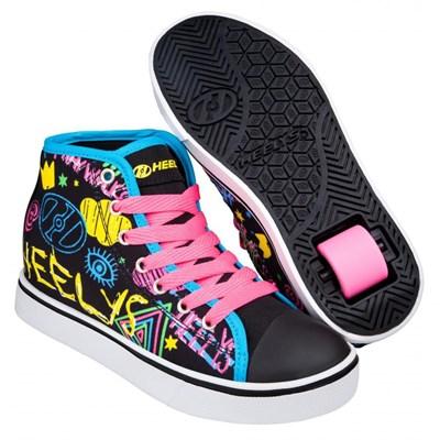 Veloz Black/Rainbow/Scribble Kids Heely Shoe