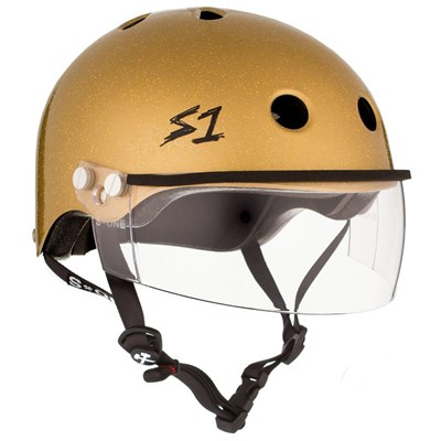 Lifer Helmet inc Visor - Gold Glitter