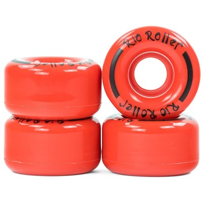 Coaster Stripe Quad Roller Skate Wheels - Red