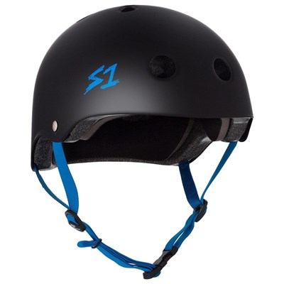Lifer Helmet - Black Matt with Cyan Strap
