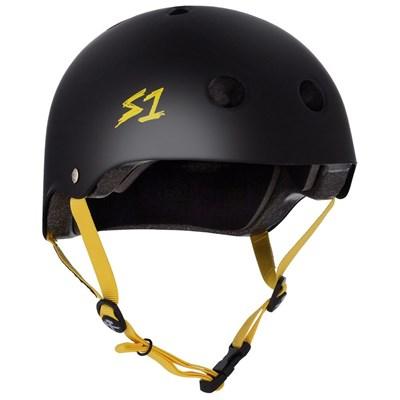 Lifer Helmet - Black Matt with Yellow Strap