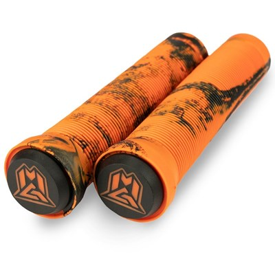 MGP Swirls Grind Handlebar Grips With Bar Ends - Orange/Black
