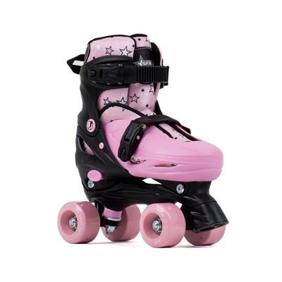 Nebula Black/Pink Adjustable Kids Quad Roller Skates