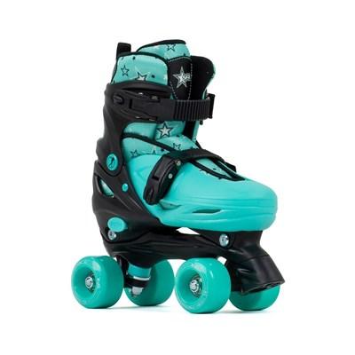 Nebula Black/Green Adjustable Kids Quad Roller Skates