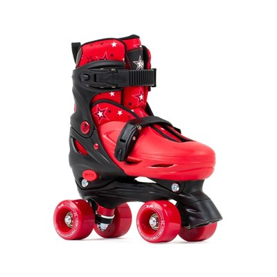 Nebula Black/Red Adjustable Kids Quad Roller Skates