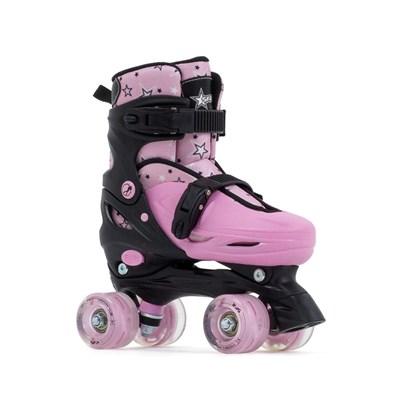 Nebula Lights Black/Pink Adjustable Kids Quad Roller Skates