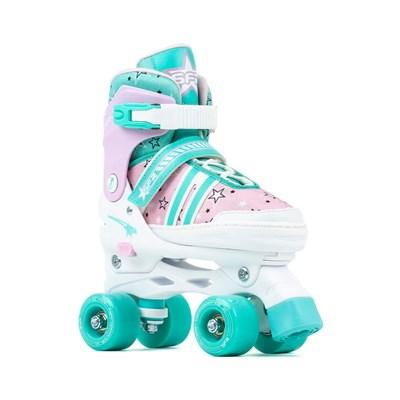 Spectra Teal/Pink Adjustable Kids Quad Roller Skates