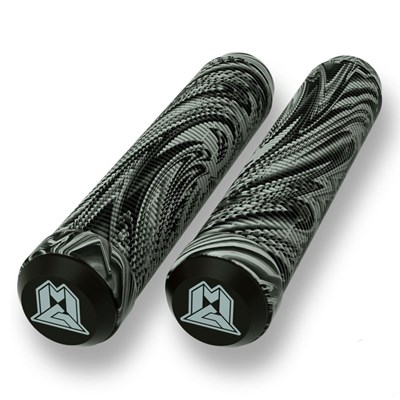 MGP Swirls Grind 180mm Handlebar Grips With Bar Ends - Grey/Black