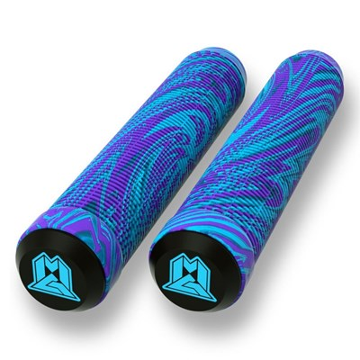 MGP Swirls Grind 180mm Handlebar Grips With Bar Ends - Blue/Purple