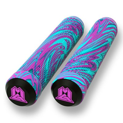 MGP Swirls Grind 180mm Handlebar Grips With Bar Ends - Pink/Teal