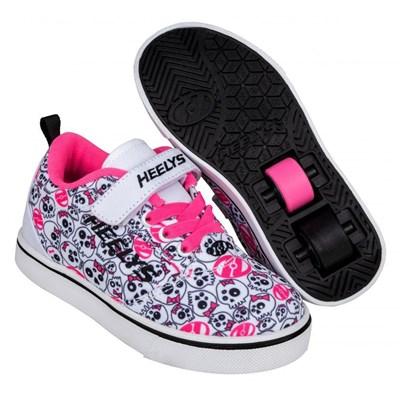 Pro 20 X2 White/Black/Hot Pink/Skulls Kids Heely X2 Shoe