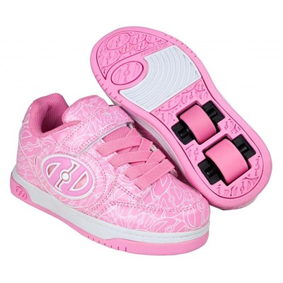 Plus Lighted Pink Patent/White Logo Kids Heely X2 Shoe