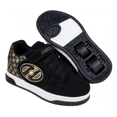 Plus Lighted Black/Gold/Logo Kids Heely X2 Shoe