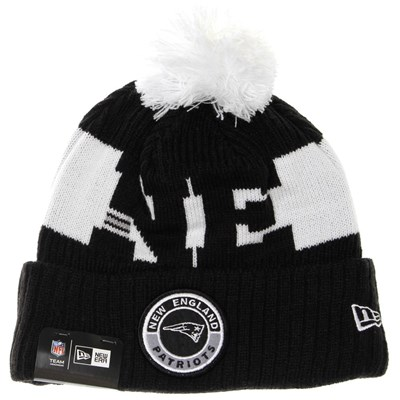 NFL Sideline Bobble Knit 2020 Black Beanie - New England Patriots