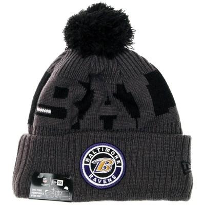 NFL Sideline Bobble Knit 2020 Reverse Beanie - Baltimore Ravens