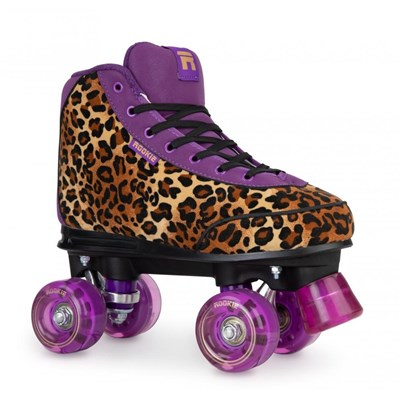 Harmony Leopard Quad Roller Skates - Brown/Purple