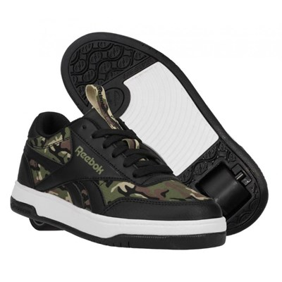 Heelys X Reebok CL Court Low Black/Capulet Olive/Safari Kids Heely Shoe