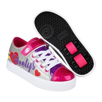 Snazzy Silver/Rainbow/Heart Kids Heely X2 Shoe