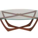 Hip Props - Cradle coffee table in teak. Mid Century furniture hire - Kays