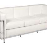 Hip Props - Le Corbusier LC2 3 seat sofa in white leather - Kays