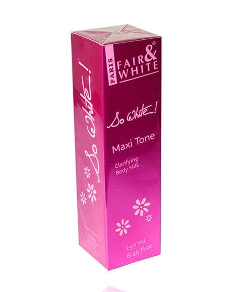 Fair and white so white maxi tone clarifying body milk