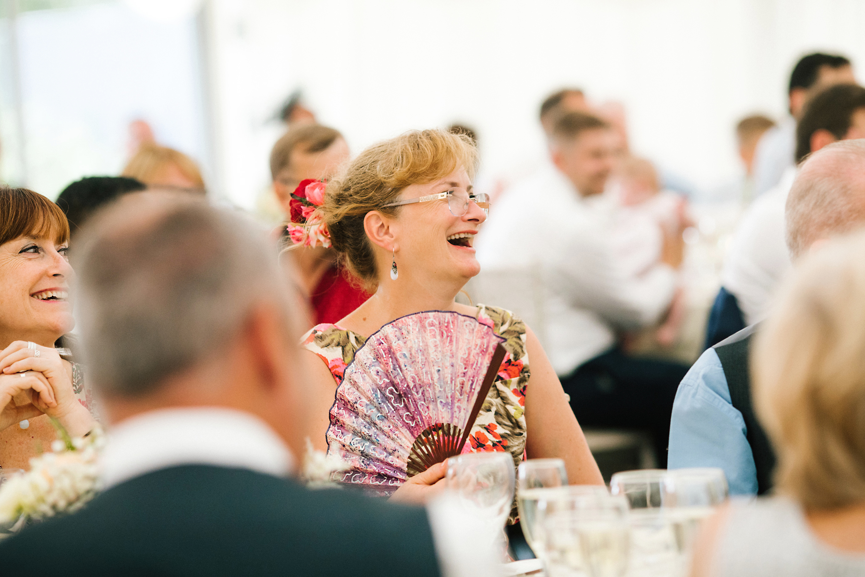 floral fan at wedding