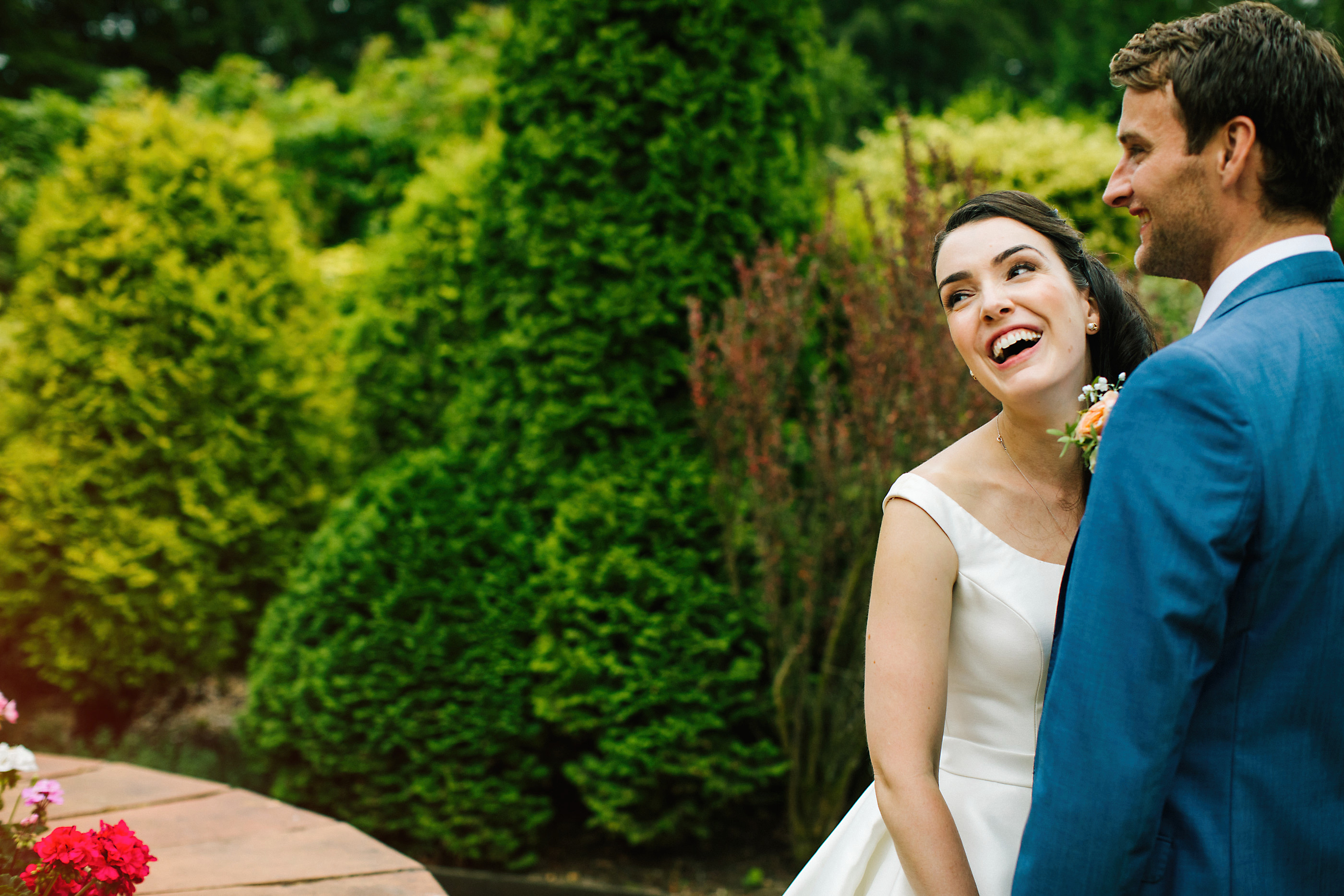 bride laughing at numsmere hall cheshire