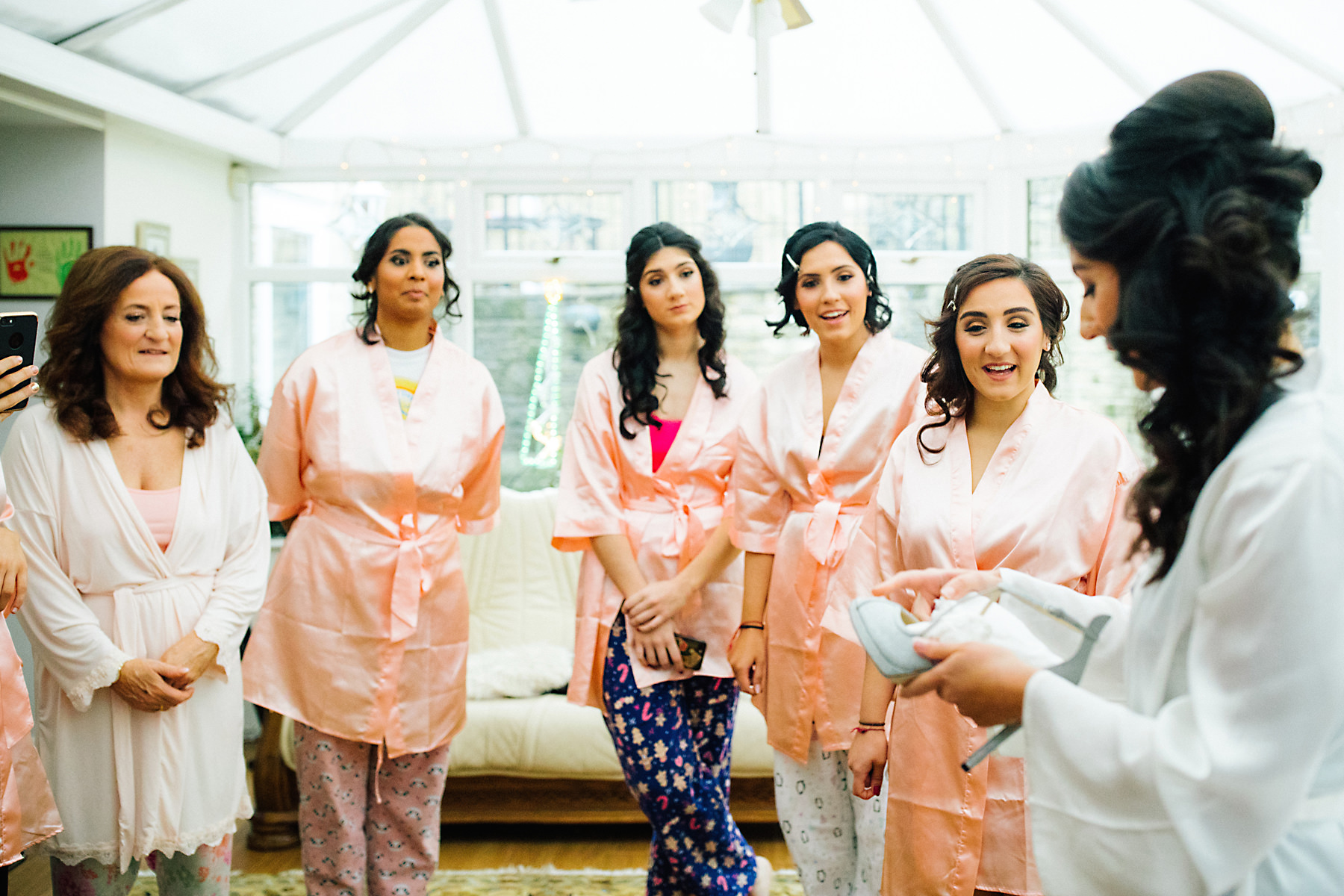 bridesmaids in wedding robes