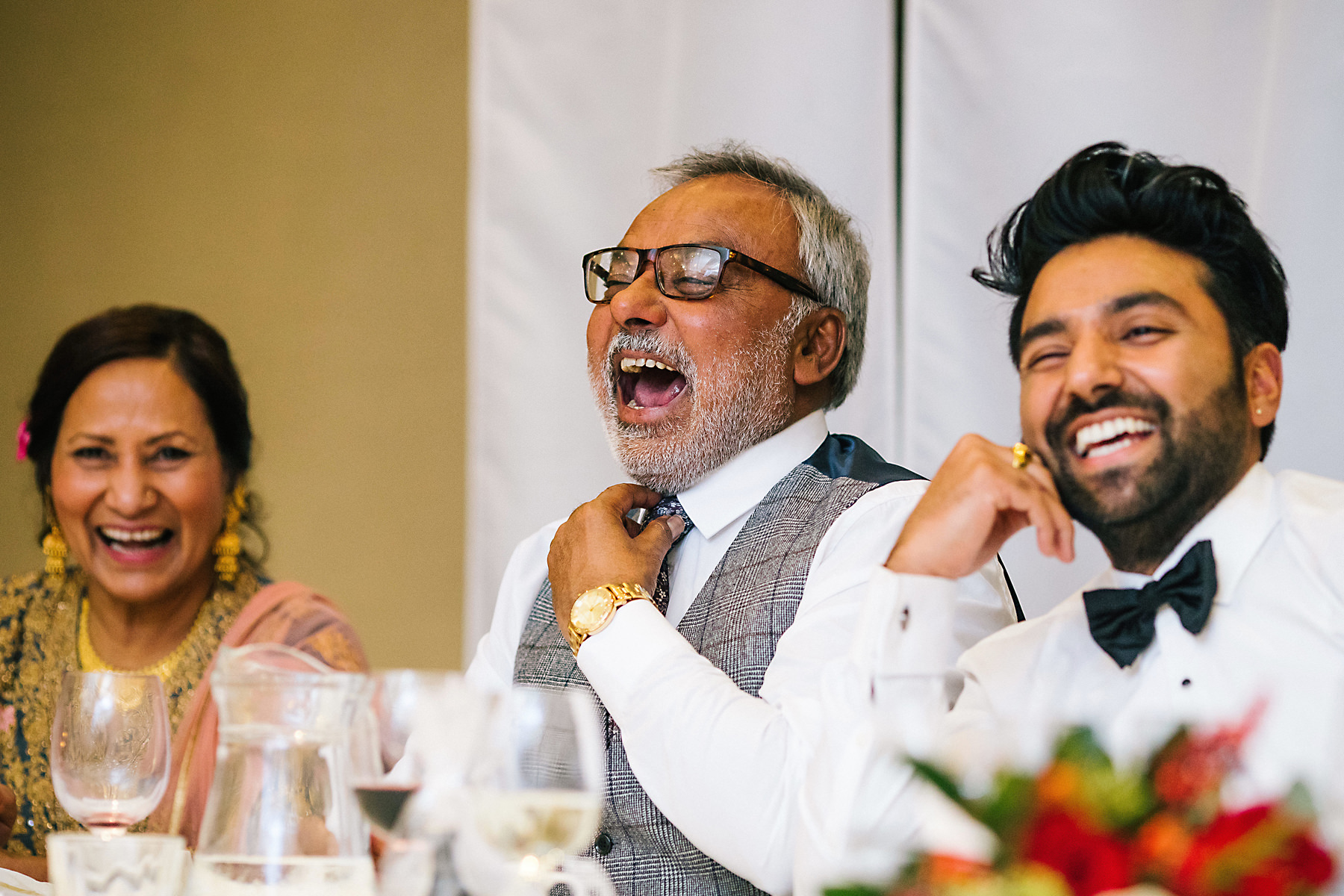 grooms dad laughing