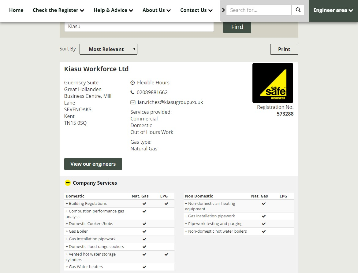 Kiasu Workforce Gas Safe Register Screenshot