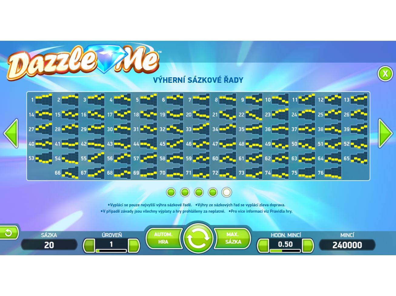 Dazzle Me online za skutečné peníze#