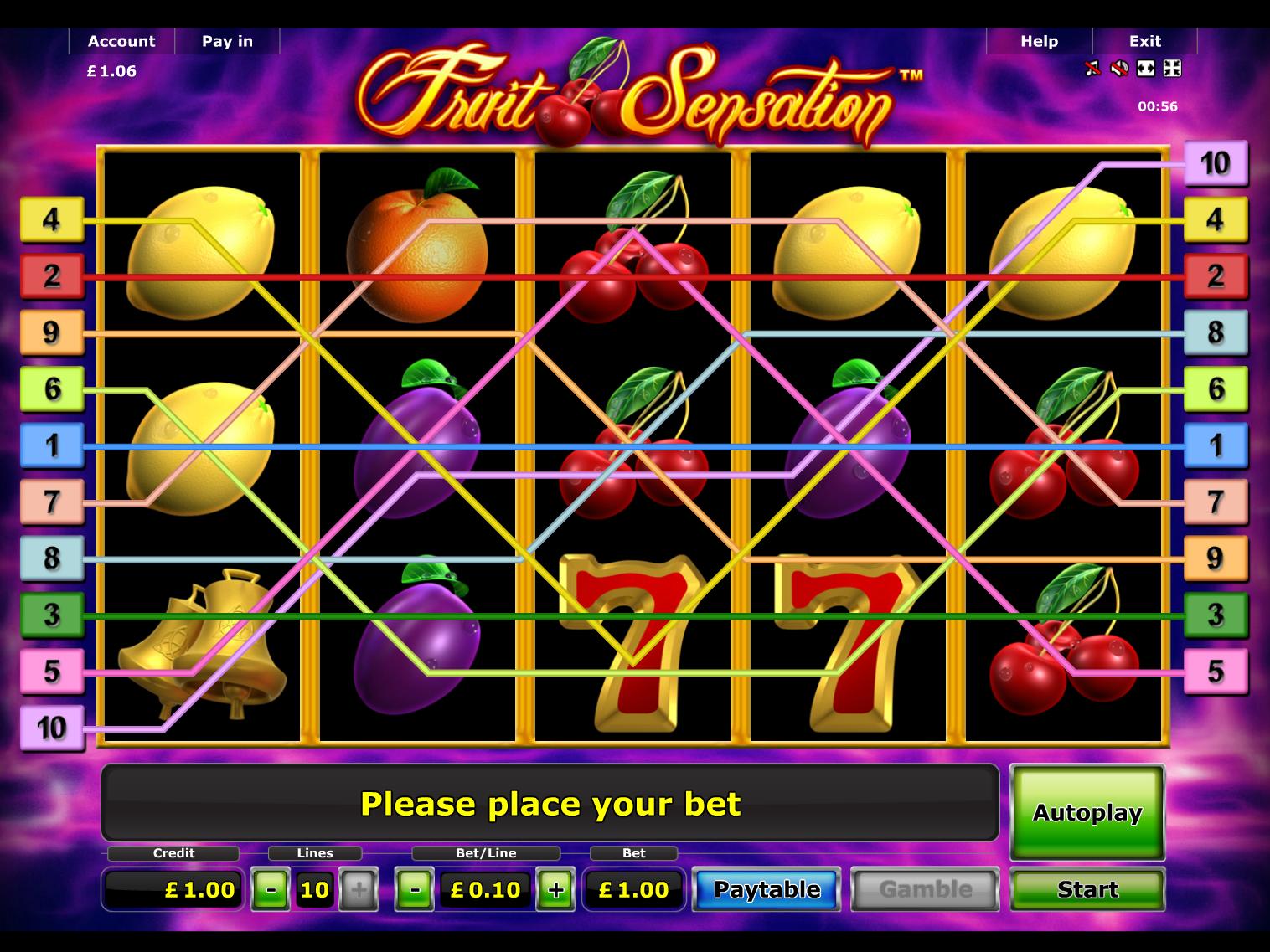 play Fruit Sensation online