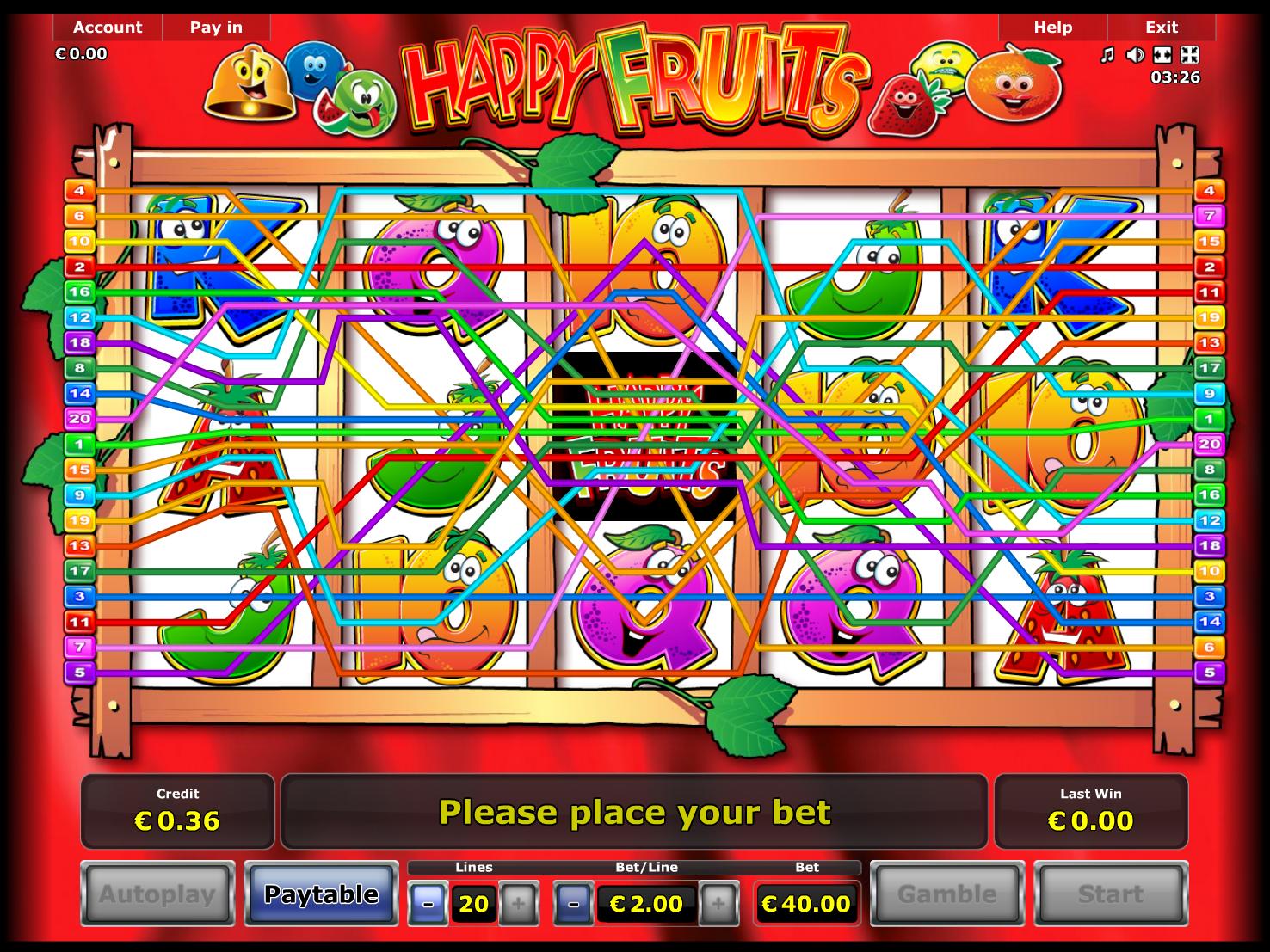 Jetzt Happy Fruits online spielen
