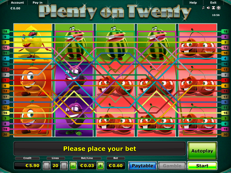 Jetzt Plenty on Twenty online spielen