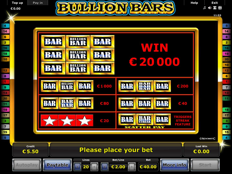 Bullion Bars online kostenlos