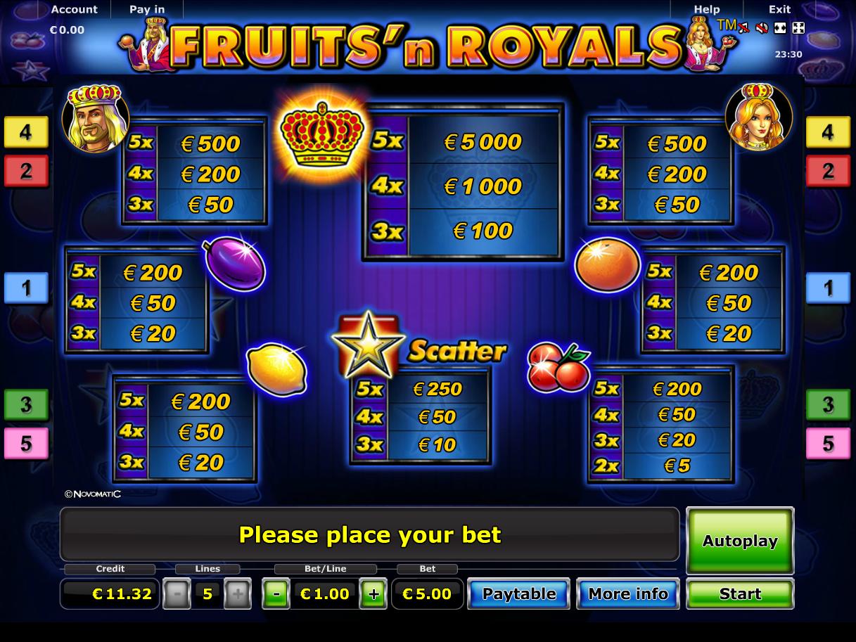 Fruits 'n Royals online kostenlos