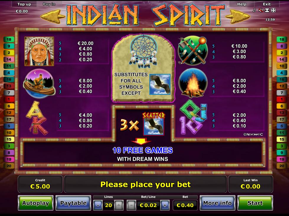 Indian Spirit online kostenlos