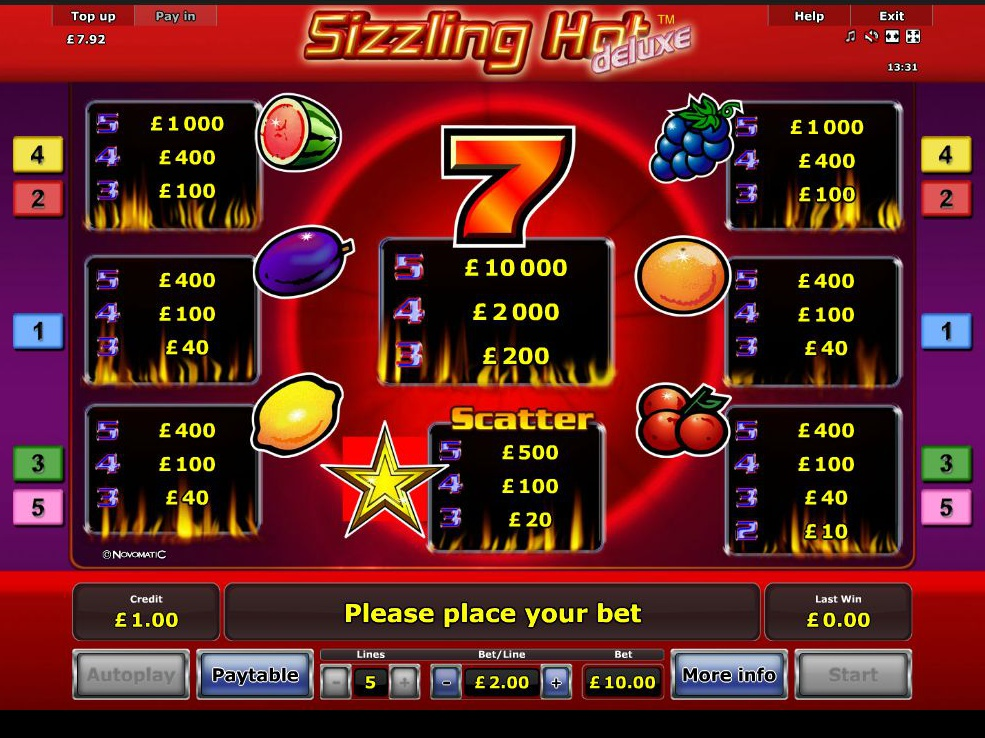 Sizzling Hot Deluxe online free
