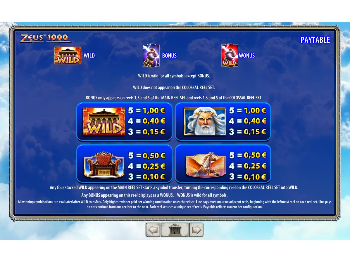 Zeus 1000 online kostenlos