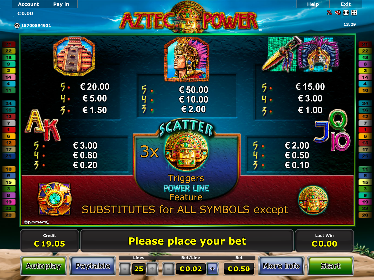 play Aztec Power for real money