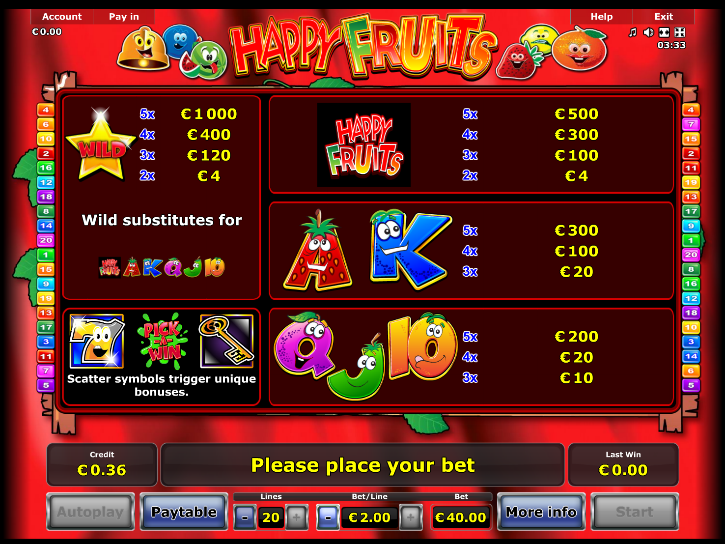 play Happy Fruits for real money