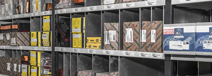 truck parts in stock on storage room