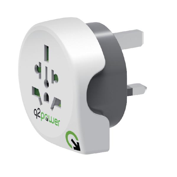 Q2 Power World to UK Universal Travel Adapter Plug