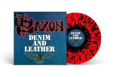 SAXON - DENIM AND LEATHER Limited Red/Black splatter (LP)