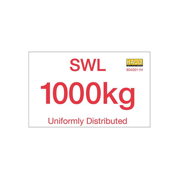 Label SWL 1000kg HACO