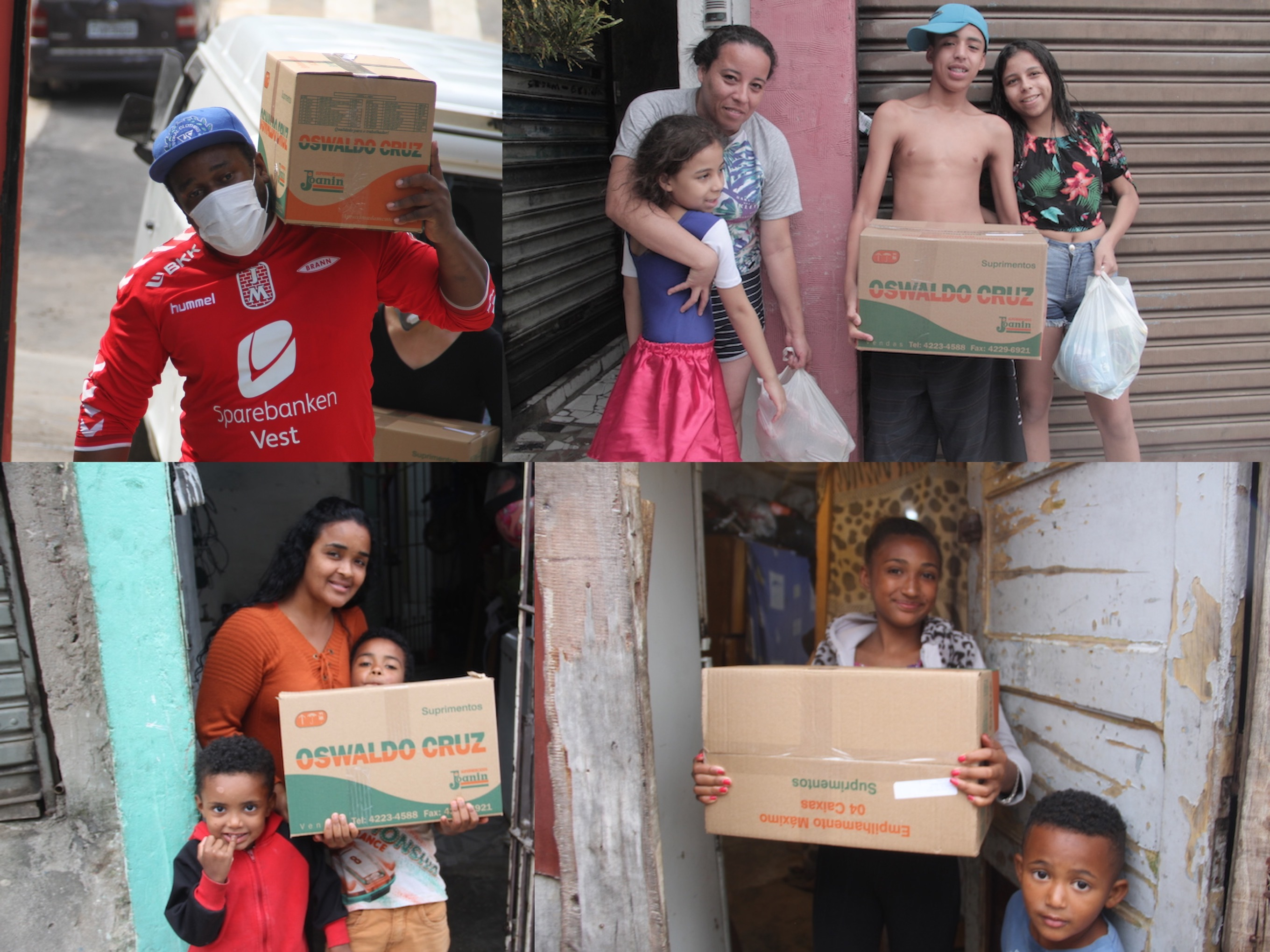 Food Basket delivery; Davi (in his red football shirt) carrying out boxes. The other photos are families in the area.
