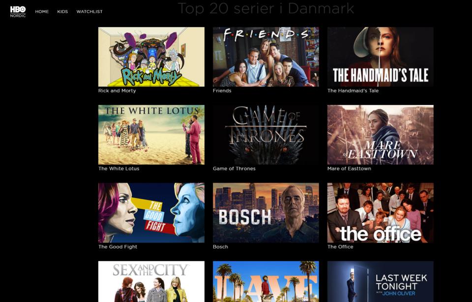 HBO Nordics egne serier fylder meget på tjenesten.