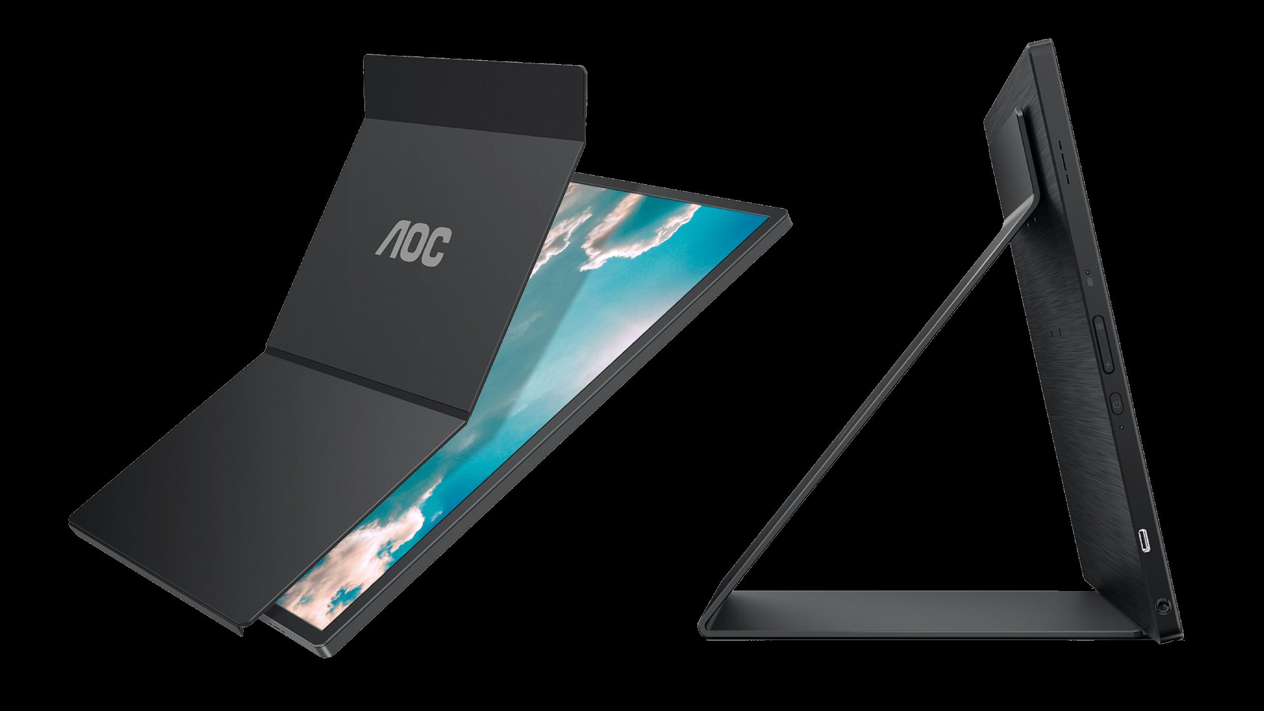 Skærmens cover kan foldes sammen og bruges som støtte.